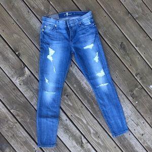 7FAMK Distressed Skinny Jeans sz 28 NWT
